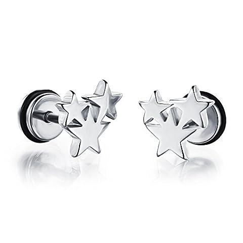 OPK 3Star boucles d'oreilles clous d'oreille à vis en acier inoxydable, couleur or/noir/blanc,