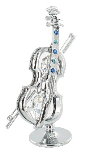 Crystocraft Decorative Object Miniature Violin Height 10 cm Width 7 cm Silver with Blue Swarovski Crystals by CRYSTOCRAFT -