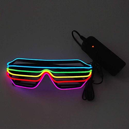 Novedad Luminosa Obturador Gafas Ajustable EL Wire Gafas de Sol LED Encender Gafas de Neon Rave