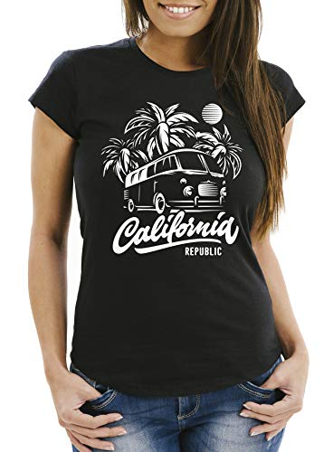 Neverless Damen T-Shirt California Surf Retro Bus Abenteuer Urlaub Palmen Slim Fit Slim Fit schwarz XL