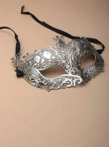 matt-silber-, Gold, Metall-Effekt, filigrane masquarade Maske, Fetisch, Party, Matt Silver Filligree Plastic Metal Effect Mask Black Ribbon Ties ()