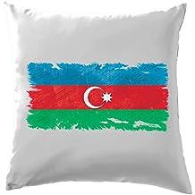 """L'Azerbaïdjan Drapeau Style Grunge–Coussin–41x 41cm (40,6cm)–10couleurs, 100 % coton, blanc, 41 x 41cm (16"""")"""