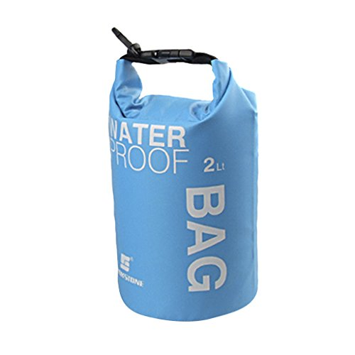 Bolsa impermeable ideal para acampada, kayak, pesca, rafting o piragüismo, color azul, tamaño 2 L