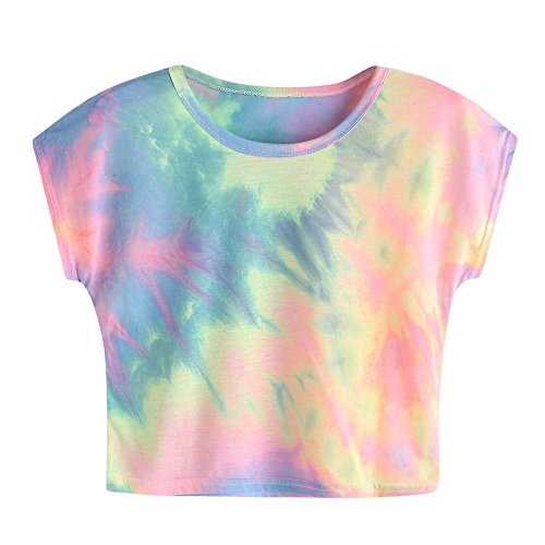 Tie-dye-mode (Weant Damen Sommer Bauchfrei T-Shirt, Mädchen Teenager Mode Kurzarm O Neck Tie Dye Shirts lustig Lose Casual Tunika Oberteile Shirt Bluse Tops)