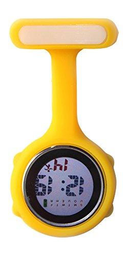 Ellemka JCM-330 - Digitale Schwesternuhr Clip zum Anstecken FOB Kittel Silikon Krankenschwester Pflege-r Quarz Puls-Uhr Taschen Ansteck-Nadel Fashion Trend Design Farbe Gelb Yellow – OVP