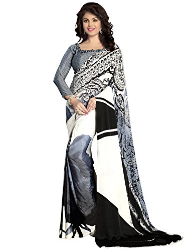 Kanchnar Crepe Saree (117S503A_Grey And Black)