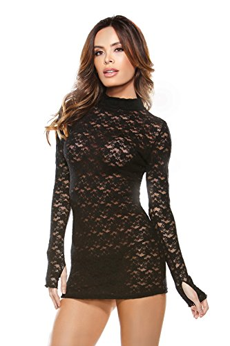 Fantasy Lingerie Women's Collared Lace Dress with G-String, Black, One Size