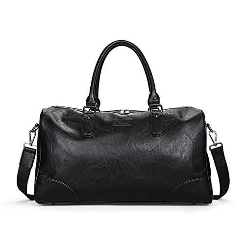 Borsone da viaggio, bagtech borsa da palestra e sportiva vera pelle, borsa a tracolla per uomo, nero