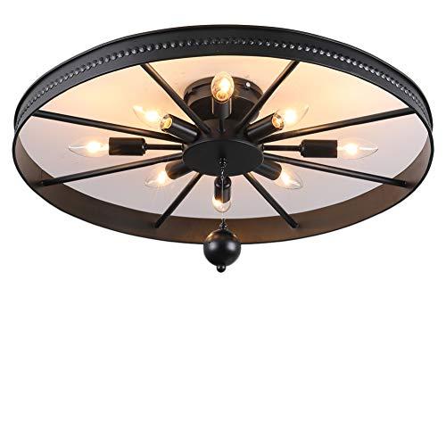 Retro Rad Deckenlampe, Runde Vintage Schlafzimmerlampe, 8-Flammig Deckenleuchte, Industrielampe, Antik Esszimmerlampe, Ring Design Wohnzimmer Lampe, Ø68cm (Ø68cm- Anhänger inklusive(8-Flammig)) - Industrie-designer