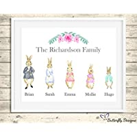Personalised Peter Rabbit Family Watercolour Premium Print Picture A5, A4 & Framed Options - Design 1
