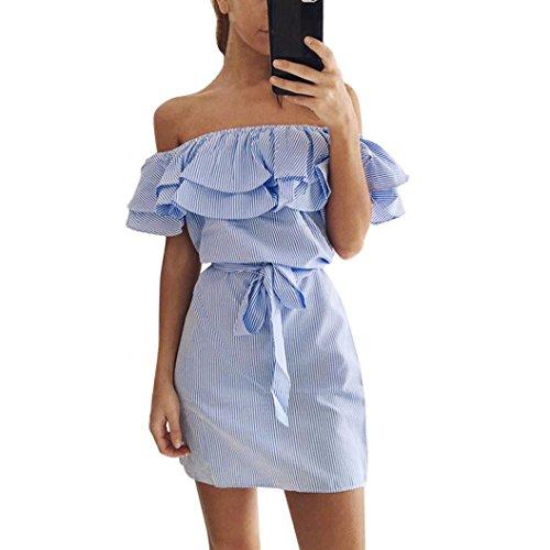 OverDose 2017 Damen Sommer Striped Off The Schulter Rüsche Kleid mit Gürtel Blau