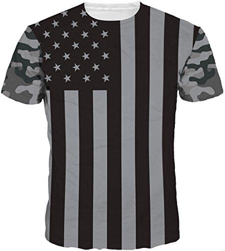 Kinchenet Unisex 3D Print Tier Kurzarm Sommer American Flag Casual T-Shirt Grafik Tees (Flag Shirt Damen American)