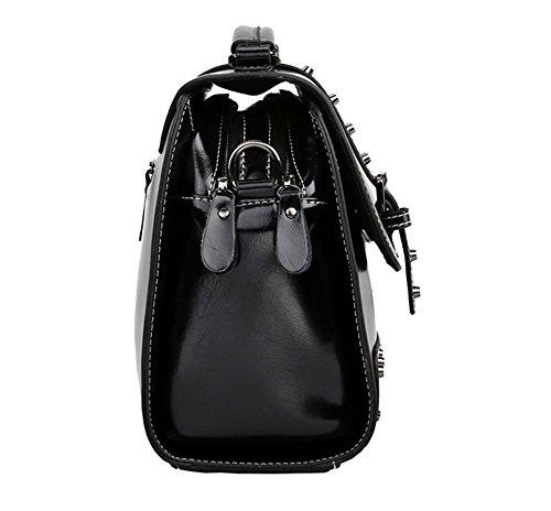 Xinmaoyuan Borse donna borsette in cuoio Ladies borsette in cuoio Ladies grande borsa tracolla Borsa Messenger Nero