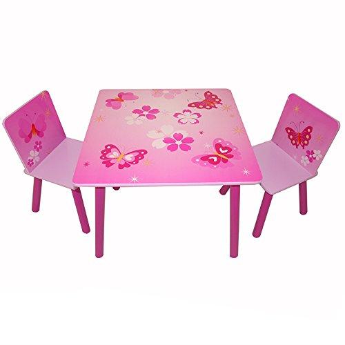 Butterfly-tisch-stuhl-set (Homestyle4u 643 Kindersitzgruppe Schmetterling Blumen , Kindermöbel Set aus 1 Kindertisch 2 Stühle , Holz Pink Rosa)