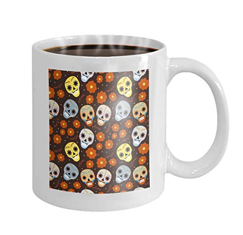 fee Mug day dead holiday mexico seamless pattern sugar skulls skeleton endless background dia de muertos day dead ()