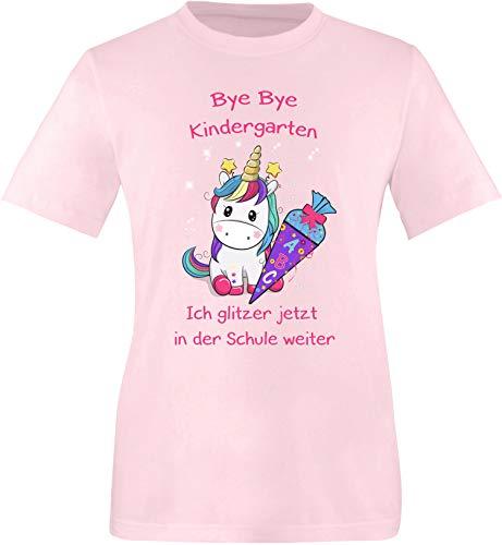 EZYshirt® Bye Bye Kindergarten ich Glitzer jetzt in der Schule | Einschulung Schulanfang 2019 Einhorn T-Shirt Kinder