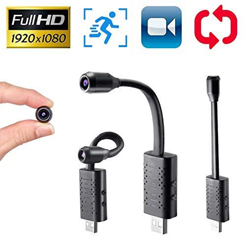 Yilutong Mini Kamera Full HD 1080P Tragbare Kleine Überwachungskamera Mikro Nanny Cam mit Bewegungserkennung und Infrarot Nachtsicht Plug and Play