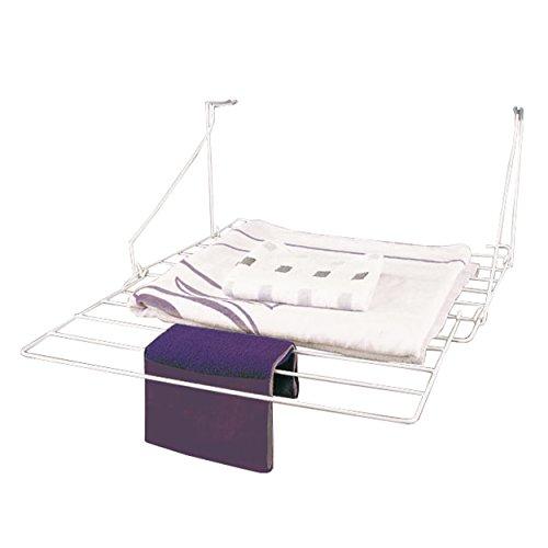 MSV 130053 - Tendedor balcón plegable, hierro,  color Blanco, 60 x 57,5 cm
