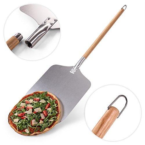 Blumtal Pizzaschaufel mit großer Fläche - 30,5cm x 30,5cm, Pizzaschieber Aluminium, Griff aus Holz 85cm