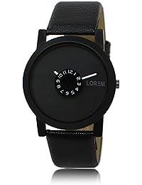 Talgo Round Dial Analogue Black Dial Black Leather Strape Fashion Wrist Watch For Men & Boys | RR_LR_0025