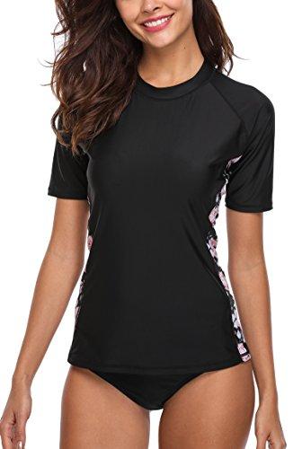 Attraco Damen Bademode Rash Guard UV Shirts Kurzarm Surf Shirt Badeshirt UPF 50+ Schwarz L