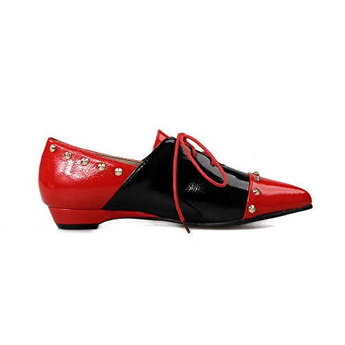 AgooLar Damen Pu Leder Eingelegt Schnüren Spitz Zehe Niedriger Absatz Pumps Schuhe Rot