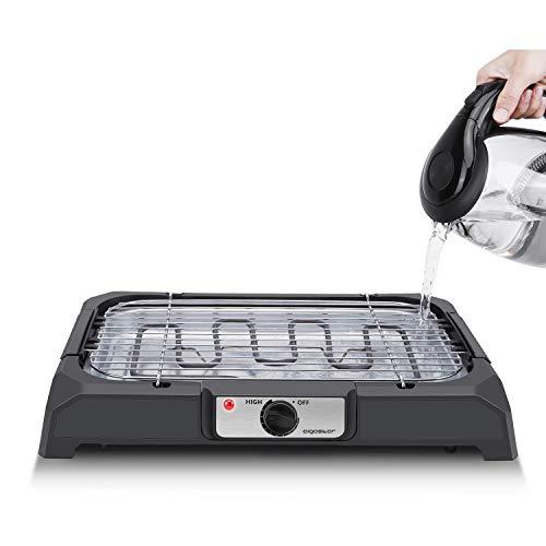 Aigostar Lava 31LDQ- Barbacoa eléctrica, Grill, 2000W, bandeja recoge grasa, uso con agua:...