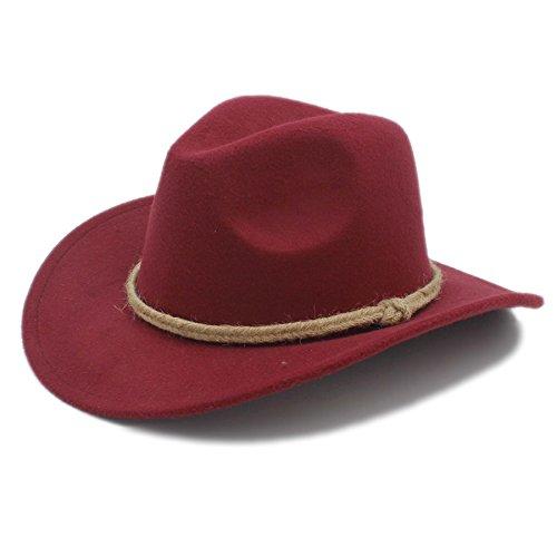 GJIN-Hats, Frauen/Männer Fedora Wolle Hut Retro Frauen Männer Chapeu Western Cowboy Hut für Gentleman Cowgirl Breiter Krempe Jazz Kirche Cap Cloche Sombrero Top Cap, (Color : 1, Size : 57-58CM)