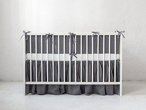 Grau Leinen Krippe Bumper. Baby Krippe Set Für Beide Mädchen Jungen Babybett
