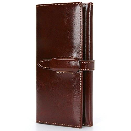 Damen Geldbörse Echtes Leder Portemonnaie Damen Lang Luxus Geldbörse Große Kapazität 10 RFID Kartenfächer 5 Geldfächer 1 Reißverschlusstasche Brieftasche Damen Geldtasche mit feiner Verpackung (Luxus Unterstützung)