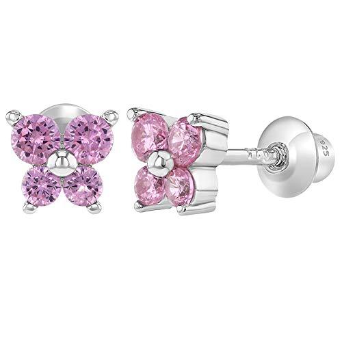925sterling Silver CZ rosa farfalla orecchini Toddlers Baby Kids vite posteriore
