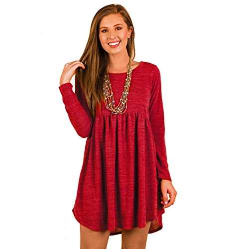 WanYang Vestito Rotondo Dal Collo Del Manicotto Lungo Sexy Allentato Di Modo Del Vestito Dal Cachemire Delle Rosso