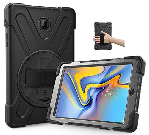 Handschlaufenkoffer für robuste, robuste Samsung Galaxy Tab A 8 Inch SM T387 (2018 Version) -Stoßfest-Hybrid-Silikonhülle mit 360 drehbarem Fußstand und Schulter-Hals-Trageband Lanyard Black