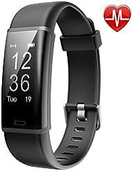 Tracker d'Activité Cardiofréquencemètre, Lintelek Montre Connectée IP67 Etanche Bracelet Sport Podomètre Calorie Smartwatch pour Enfants Femmes Hommes