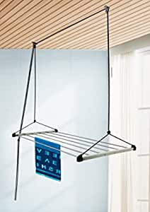 SYNERGY - (6 Pipes x 4 Feet) - Heavy Duty - Stainless Steel Ceiling Clothes Hanger/Cloth Dryer with UV Protected Nylon Rope (SY-CE1)