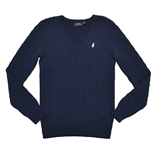 Polo Ralph Lauren Cable Knit V-Neck Cotton Pullover Kimberly M Navy (Hunter Navy) -