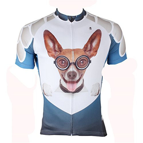 3D Dog Pattern Men's Short Sleeve Cycling Jersey Full Zip Moisture Wicking Breathable Running Top Quick Dry Outdoors Sports Bike Shirt Multicolor X-Large (Road Cycling Shorts)
