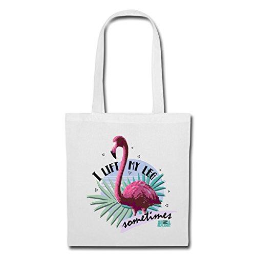 Spreadshirt Animal Planet Flamingo I Lift My Leg Stoffbeutel Weiß