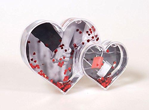 Double Heart Glitzerkugel Bilderrahmen für 2 Fotos 6x5 cm 9,5x8,5 cm Foto Kugel