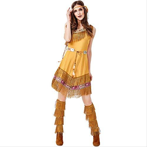 ZmnXnm Halloween-Rollenspiel-Outfits, Neue Indische Prinzessin Kleider, Khaki Stammes-göttinnen, Cosplay Kostüme XL gelb