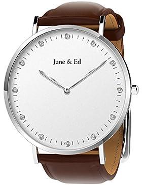 June & Ed Herren-Armbanduhr Uhr Edelstahl Analog Quarz mit Saphir Kristall W-0040