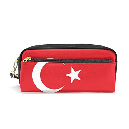 Eslifey Federmäppchen mit Flagge der Türkei tragbar PU Leder Schule Stifteetui Stifteetui Stifttasche Wasserdicht Kosmetik Tasche Make-up Beauty Case (Türkei Geldbörse Die)
