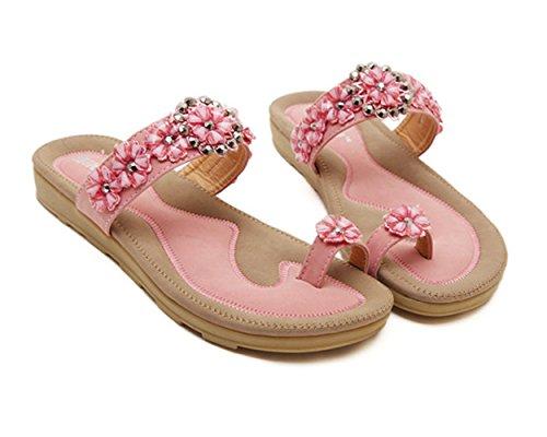 Sommer Damen Böhmen Stil Daumen Blumen Strass Slip On Riemenband Flach Keilabsatz Sandalen Pink