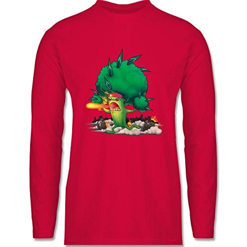 Comic Shirts - Brokkoli Monster - Longsleeve / langärmeliges T-Shirt für Herren Rot