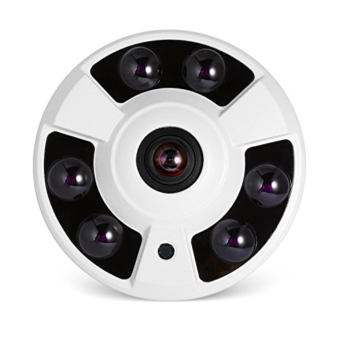 interna poe telecamera ip sicurezza fisheye panoramic, revotech® h.265 hd 3mp 1080p telecamera di sorveglianza domestica visione notturna con ir motion detection onvif p2p cctv cam(if02 bianco)