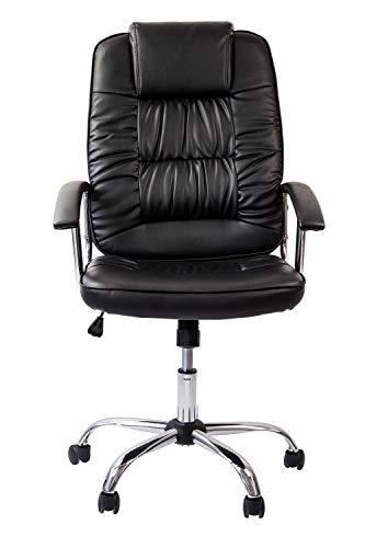 Avanti Trendstore - Montivo - Drehbarer und höhenverstellbarer Bürostuhl auf Rollen, aus Kunstleder schwarz, mit gepolsterte Rückenlehne, Kopfstütze und Armlehnen. Maße: BHT 60x109-119x70 cm -