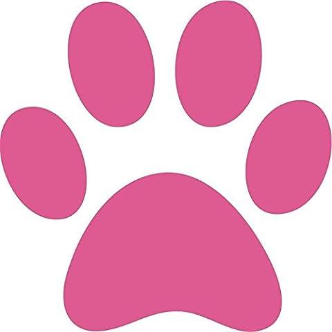 6 x cane grande e cucciolo, Paw Print Bumper Sticker da parete, Area Grooming Rosa