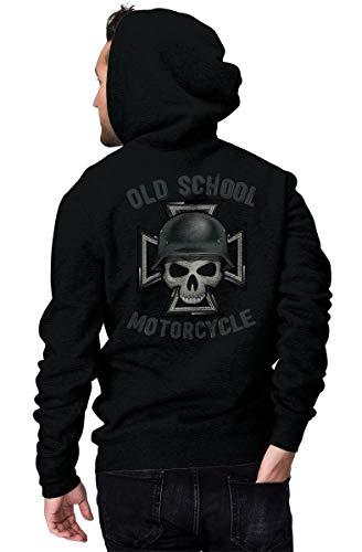 Rebel on Wheels Zip Hoodie Oldschool Motorcycles Schwarz 2XL -