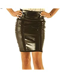 Leatherotics Knee Length Leather Skirt Pencil Style Tight Fit Sexy Black Unique Suede SK23