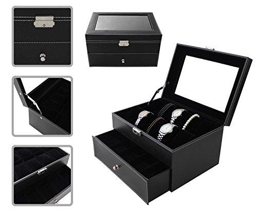 Todeco - Uhrbox, Uhr und Armband Aufbewahrung - Größe: 28,5 x 20,5 x 15 cm - Material der Box: PU - 20 Uhren mit Schublade und Display, Schwarz -